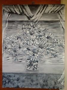 Paisaje con flores blancas