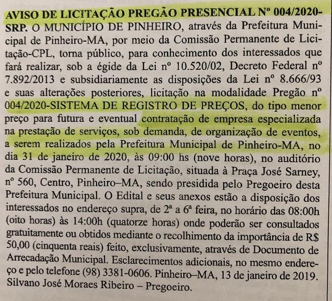 Edital do carnaval de Pinheiro-MA