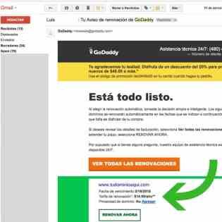 correo electrónico recordando la renovación del dominio