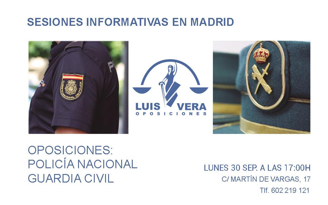 OPOSICIONES GUARDIA CIVIL Y POLICÍA NACIONAL: Sesiones informativas 30 de Septiembre