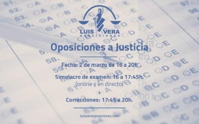 Simulacro de exámen Oposiciones de Justicia – 2 de Marzo 2021