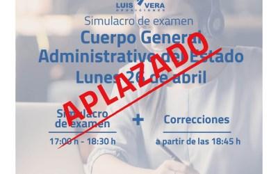 Simulacro de examen Cuerpo General Administrativo del Estado – Aplazado