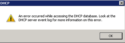 an error occurred while accessing the DHCP database