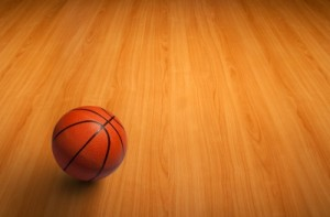 Basketball on floor