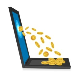 coins coming out of a computer