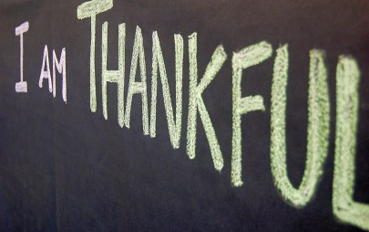 I Am Thankful written on chalkboard