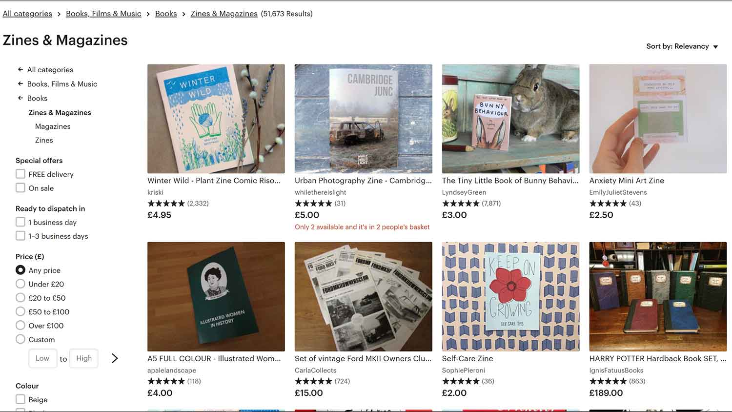 how to sell zines online, etsy