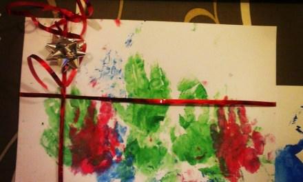Process Art: Christmas Present Hand Prints