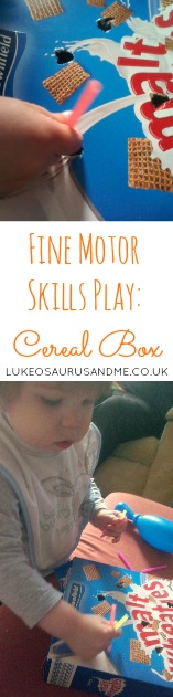Fine Motor Skills Play using empty cereal box from https://lukeosaurusandme.co.uk