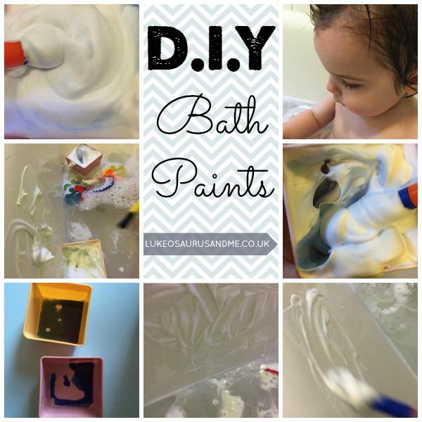 DIY Bath Paints for toddlers bath times. Fun sensory activity from lukeosaurusandme.co.uk