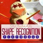 Snowman (winter themed) shape recognition activity for toddlers and preschoolers https://lukeosaurusandme.co.uk @gloryiscalling