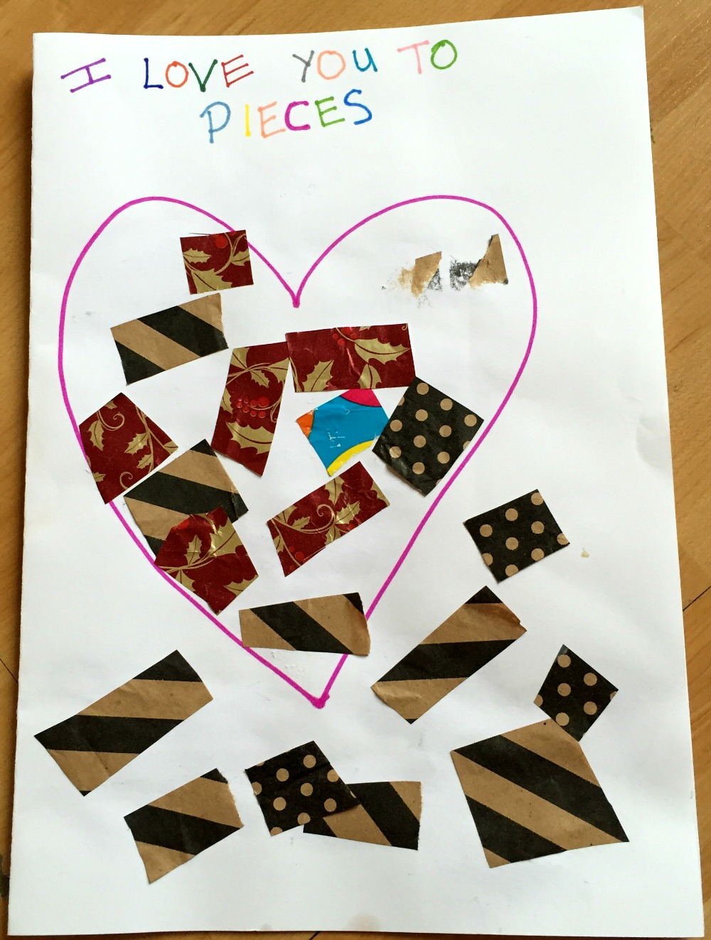 i love you to pieces  toddler valentine's day card