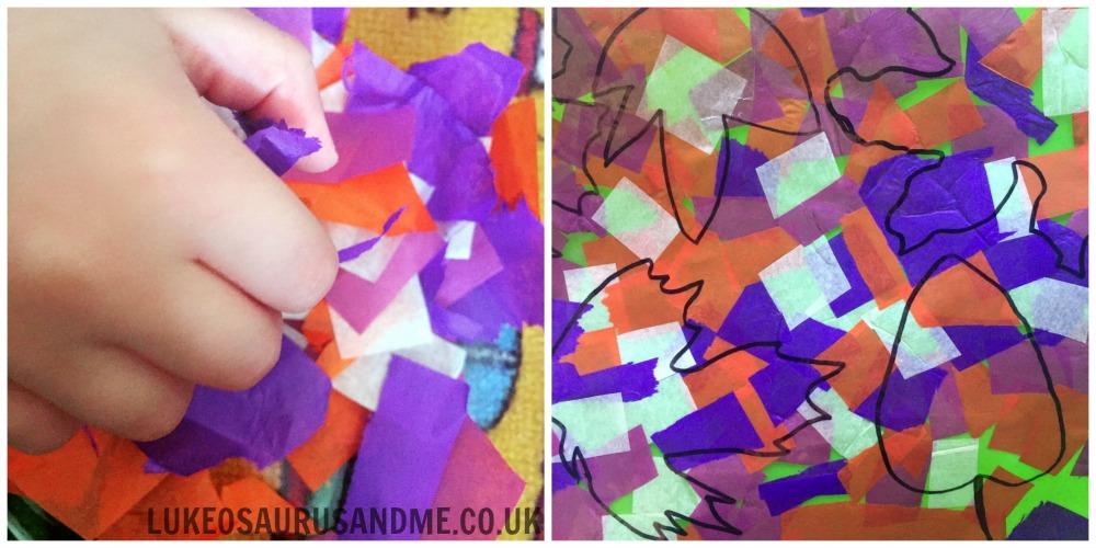 Tissue Paper Autumn Leaves Suncatcher at http://lukeosaurusandme.co.uk