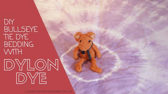 DIY Bullseye tie die bedding with dylon dye at https://lukeosaurusandme.co.uk
