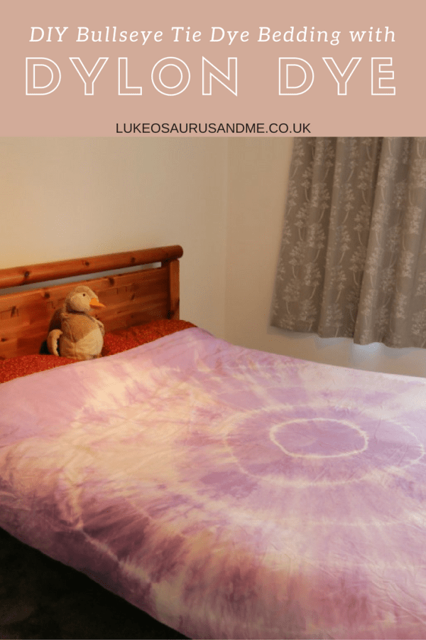 DIY Bullseye tie die bedding with dylon dye at https://lukeosaurusandme.co.uk