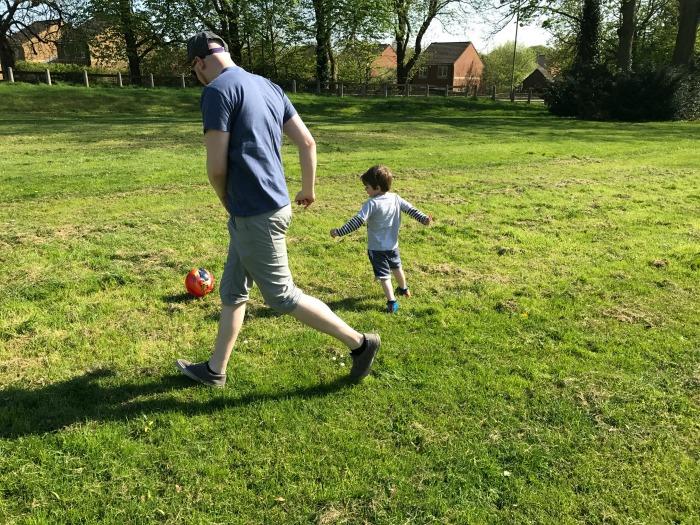 Playing on Rushmoor Arena field at https://lukeosaurusandme.co.uk