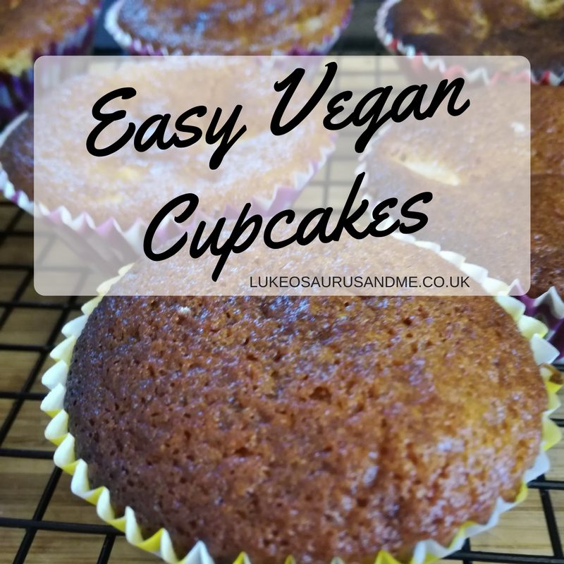 Easy vegan cupcake recipe at https://lukeosaurusandme.co.uk Great for baking with children who have food allergies!