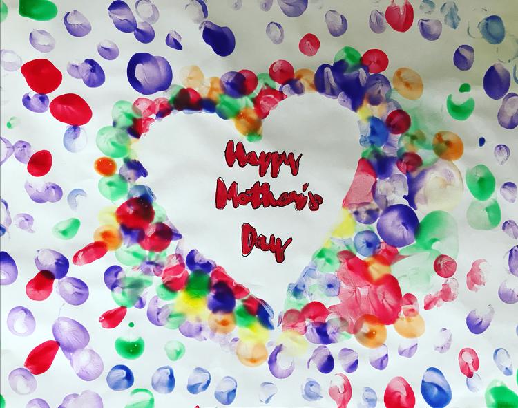 Kids home made Mother's Day card using finger paints at https://lukeosaurusandme.co.uk
