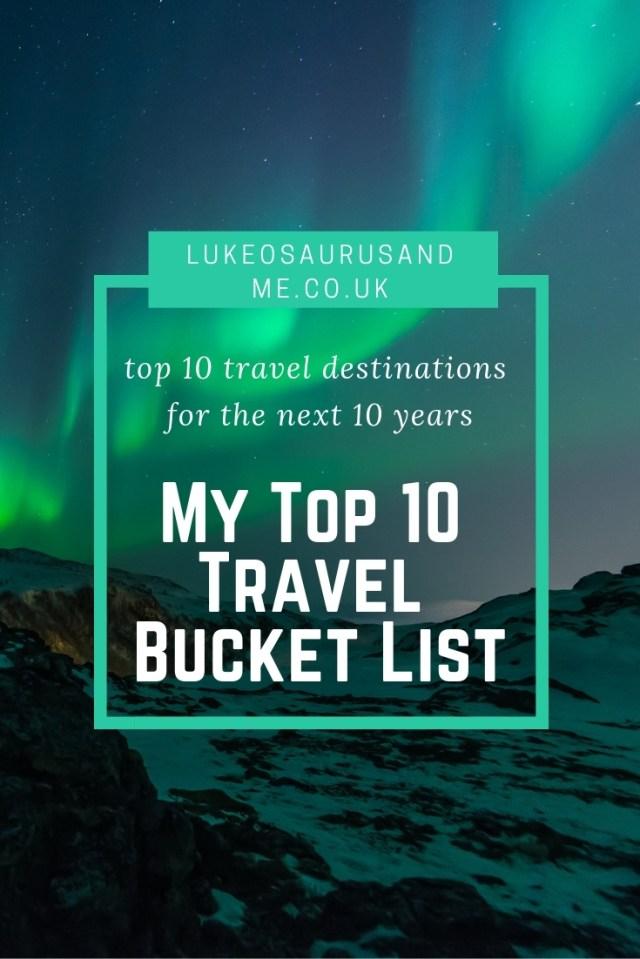My Top 10 Travel Bucket List at https://lukeosaurusandme.co.uk
