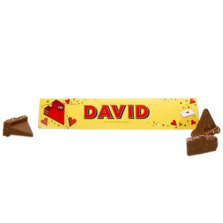 Valentine's Gift Ideas For Him & Her - Personalised Toblerone Chocolate Bar at https://lukeosaurusandme.co.uk