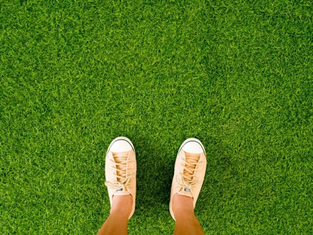 aerial shot of a person standing in trainers on artificial grass