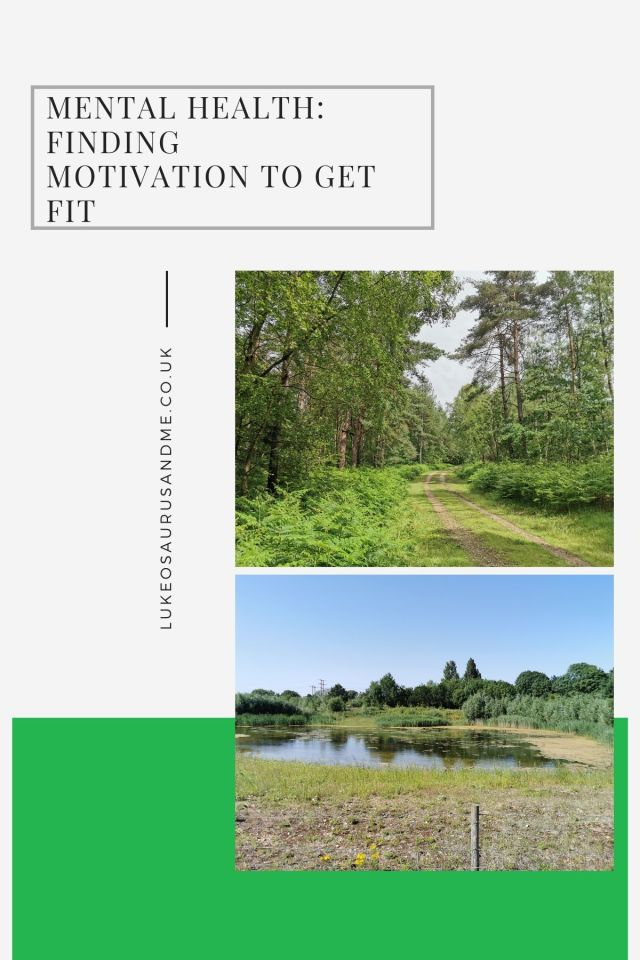 Title  Mental Health: Finding Motivation To Get Fit and two landscape photos, one of woodland, one of a silt lake
