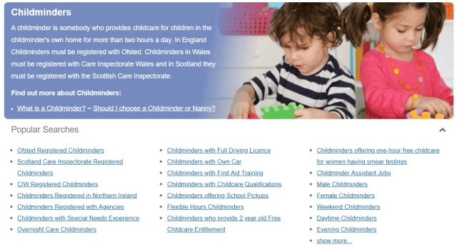 screenshot of childcare.co.uk popular searches list under the childminders category