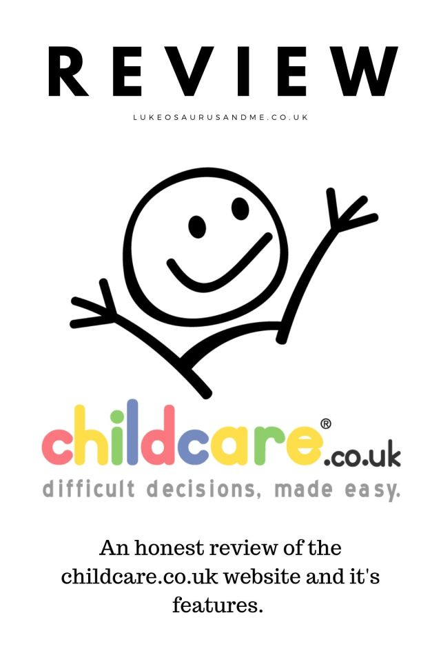 Image with the title 'review' and the childcare.co.uk Facebook logo with the text 'an honest review of the childcare.co.uk website and it's features