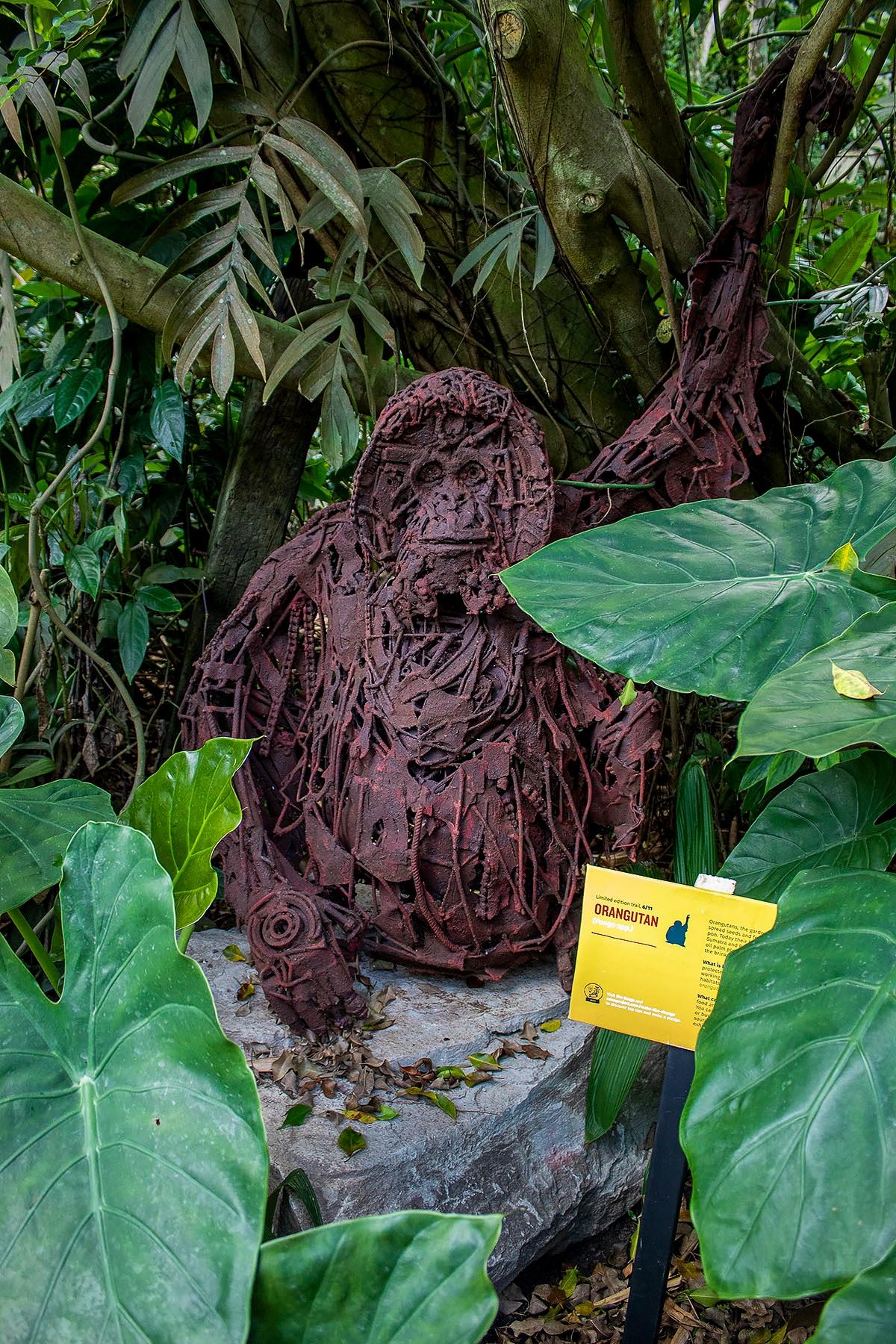 A metal sculpture of an orangutan hiding in the Rainforest biome at The Eden Project