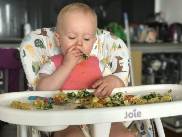 Mummy To Dex's baby sat at a high chair tucking into some yummy food using the baby led weaning method.