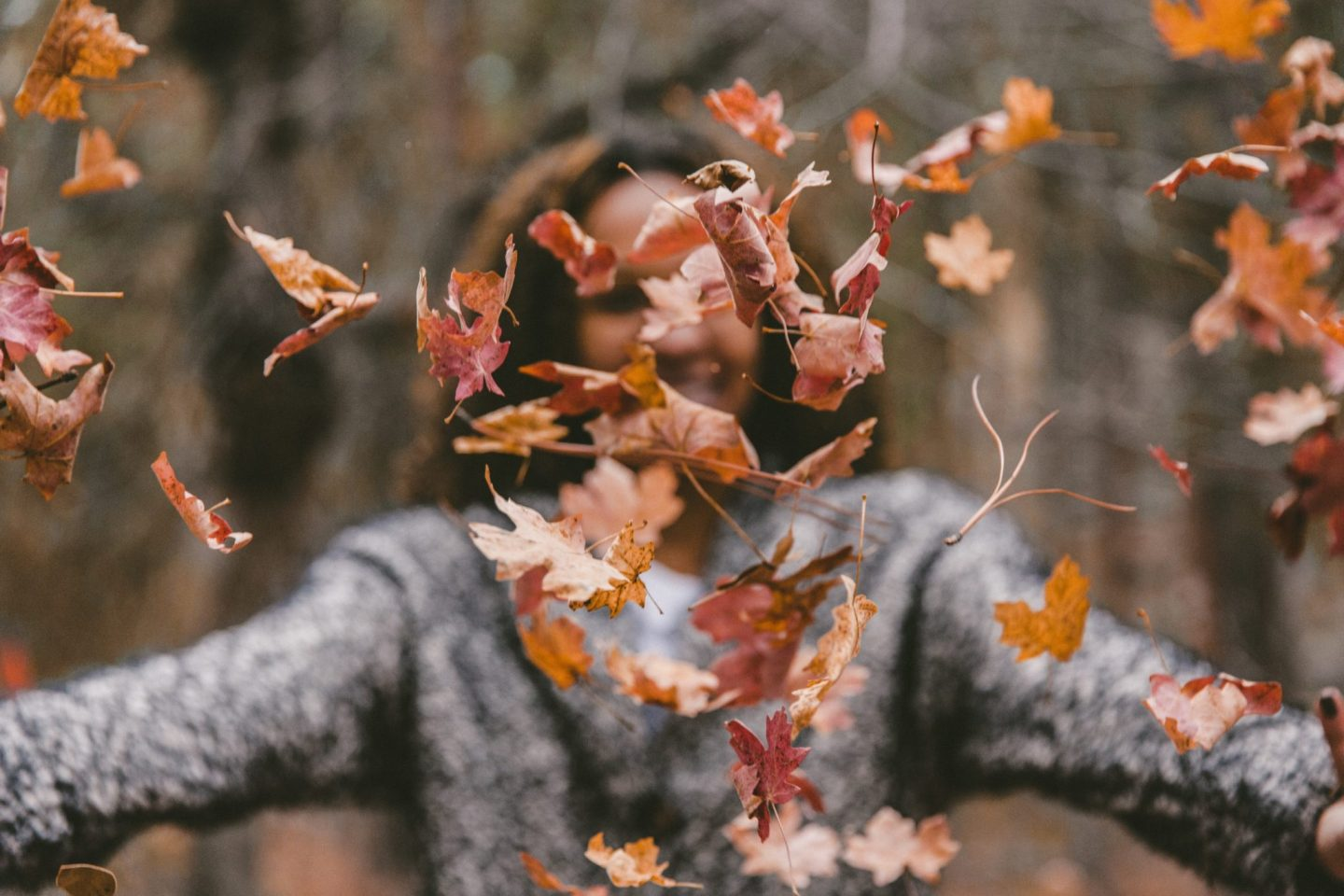 woman throwing autumn leaves in the air. The leaves in front of her are in focus whereas she is blurred.