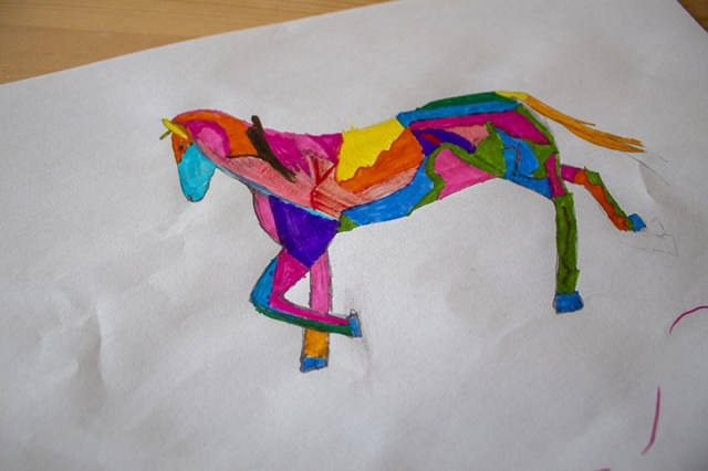 Multicoloured horse drawing on white paper for a blog post about Petplan Equine Insurance.
