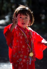 Girl in traditional Seven-Five-Three dress, Meiji Jingu