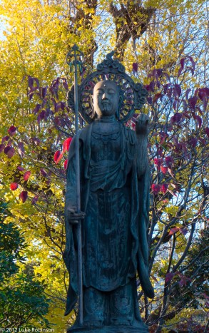 Buddha and autumn colours, Tenno-Ji Temple, Yanaka