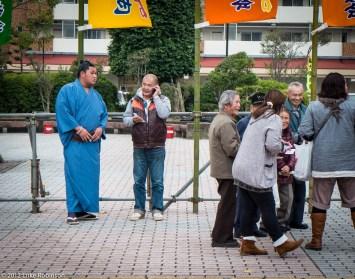 Sumo Rikishi outside Fukuoka Kokusai