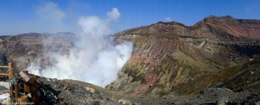 Wide view of Mount Aso Crater