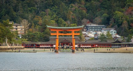 The famous Torii Gate of the Itsukushima Shrine viewed from Hiro