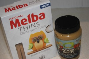 Melba toast and peanut butter