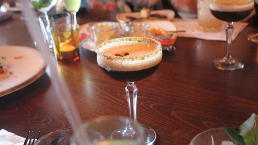 An Expresso Martini cocktail in a glass.