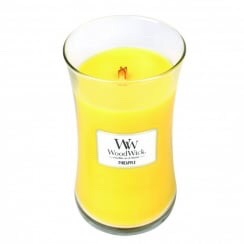 A tall white wax candle in a glass jar.