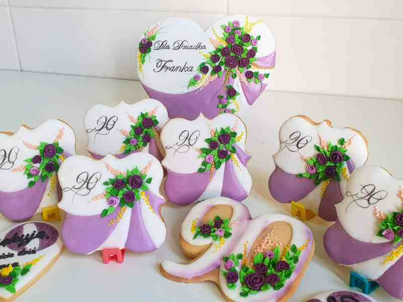 Lukrowane pierniki urodzinowe, dla babci i dziadka, dziewięćdziesiąte urodziny, 90 podziękowania dla gości - Basia sweets