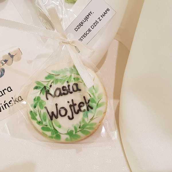 podziękowania ślubne, Lukrowane ciasteczka ślubne, podziękowania dla gości, ciastka z inicjałami - Basia sweets