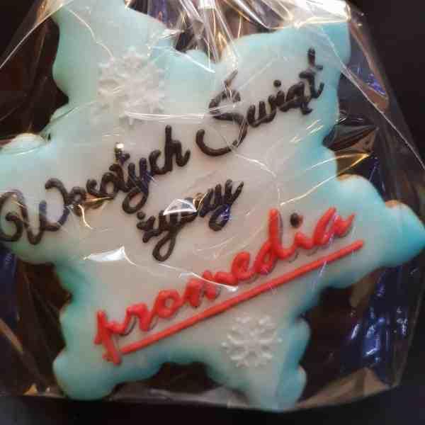 Pierniki reklamowe - Duża śnieżynka z logo, Lukrowane ciastka Bożonarodzeniowe, pierniczki z logo - Basia sweets