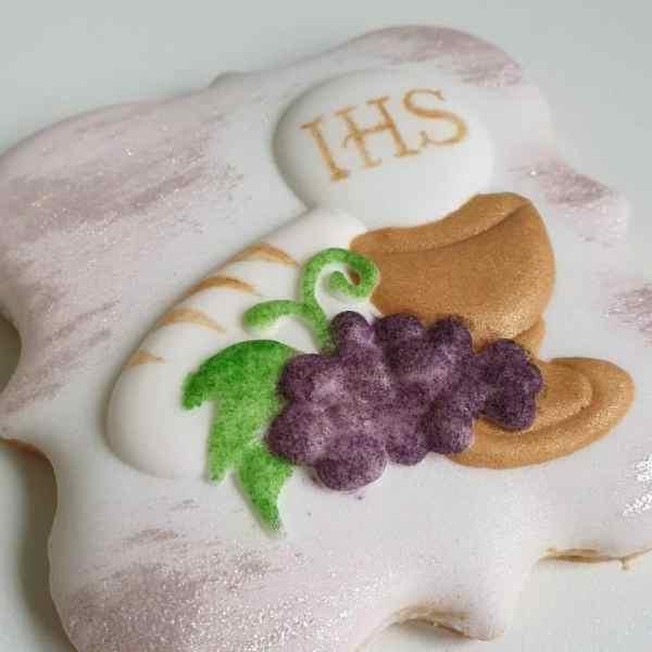 Pamiątka Komunii Świętej, ciasteczka na komunię, podziękowania dla gości, ciastka komunijne Basia sweets