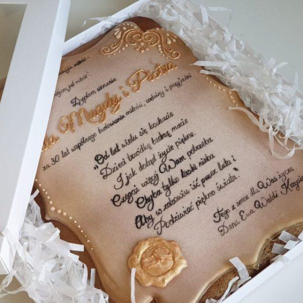 piernik lukrowany, dyplom z piernika - Basia sweets