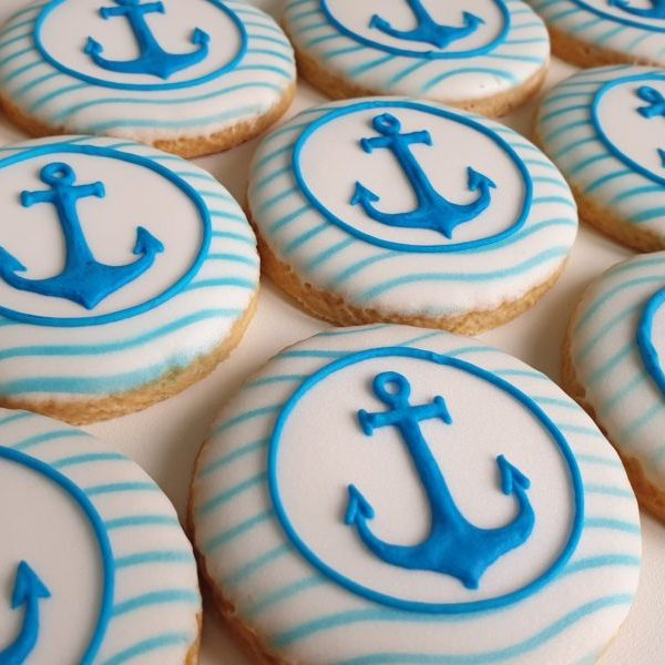 ciasteczka marynarskie, ciastka z kotwicą, dla marynarza, lukrowane ciasteczka Basia sweets