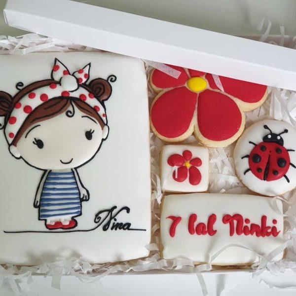 ciasteczka urodzinowe, ciasteczka dla dziewczynki, komplet ciasteczek w pudełeczku, lukrowane ciasteczka Basia sweets