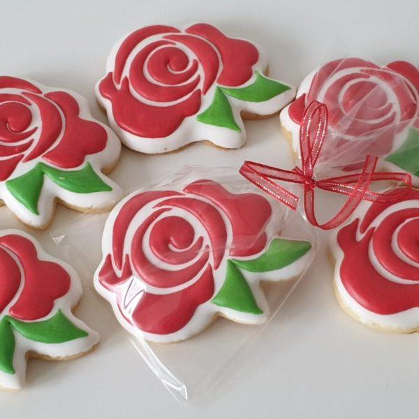 dzień kobiet, walentynki, lukrowane ciasteczka róże, ciasteczka kwiaty, Basia sweets