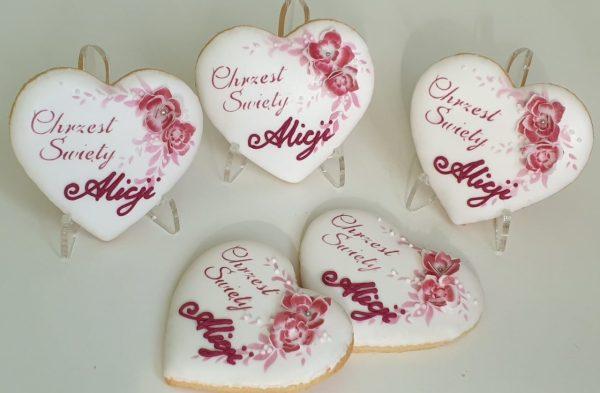 ciasteczka na chrzest - serduszka, podziękowania dla gości na chrzest, lukrowane ciasteczka Basia sweets