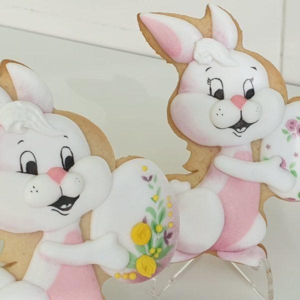 Króliczek wielkanocny, ciasteczka wielkanocne, dekoracje wielkanocne, lukrowane ciasteczka Basia sweets